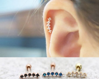 CZ Bar Earring/Piercing/14K solid gold piercing/Tragus Earring/Cartilage earring/Tragus Piercing/Cartilage piercing/Earrings/Bar Earrings