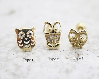 14K Owl Piercing/Cartilage earring/Helix piercing/Earring/Conch piercing/Tragus piercing/Cartilage piercing/Daith piercing/Owl earring/conch