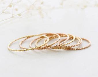 14K solid gold ring/Dainty gold ring / Thin gold ring / Minimalist ring / 14K rose gold ring/ Stacking ring/ 10 finger layered ring/ Rings