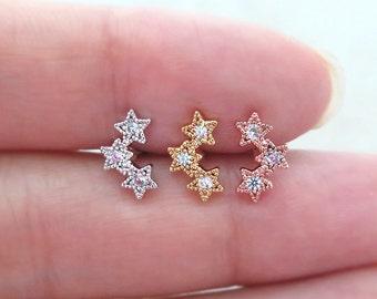 Triple star Piercing/Tragus Earring/Cartilage earring/Tragus stud /Tragus Piercing/CZ piercing/CZ Stud Ear Piercing/Helix/conch/Piercing