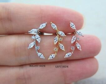 CZ Leaf Piercing/Cartilage earring/CZ stud piercing/Tragus stud /Single earring/CZ piercing/Labret bar optional/Cartilage piercing/Piercing