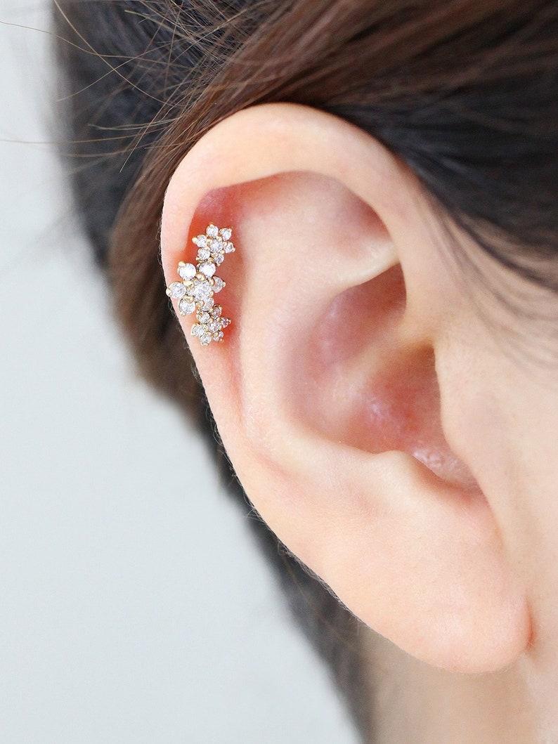 14k Gold Flower Cartilage Earring Conch Earring Piercing Tragus Earring Tragus Piercing Cartilage Piercing Helix Piercing Earrings Daith