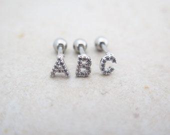Initial Earrings (A-Z)/Tragus Earring/Cartilage earring/Tragus stud /Tragus Piercing/CZ piercing/Initial Piercing/Helix/Conch/Earrings