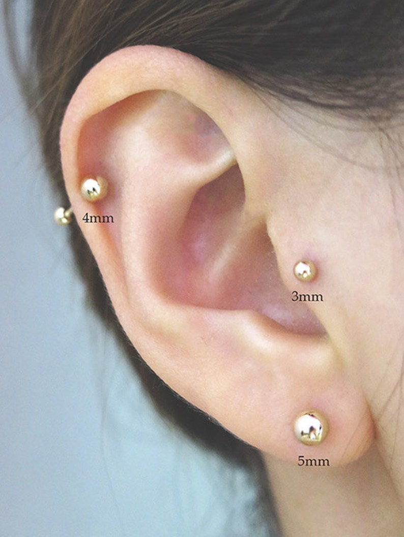 14k Solid Gold Ball Piercing Piercing Earring Ball Earring Cartilage Earring Tragus Earring Ball Piercing Gold Ball Earring Jewelry Helix