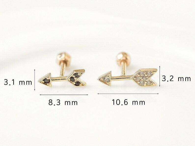 14K Arrow Cartilage Earring,Tragus Earring,Tragus stud,Helix Conch earring,Cartilage piercing,Arrow earring,16g 18g,Delicate earring