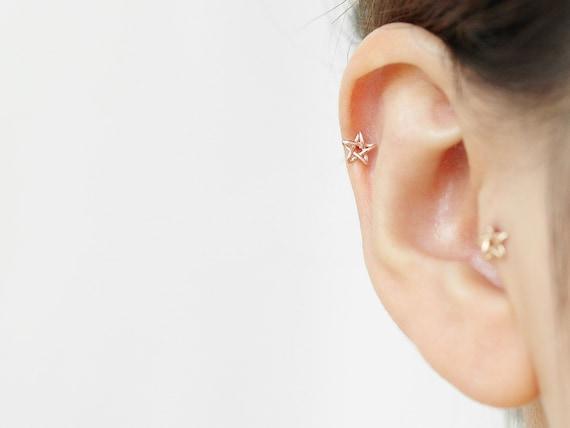Helix Bar Ear Stud ~ 6mm x 1.2mm Cute Owl with Gem Tragus Cartilage