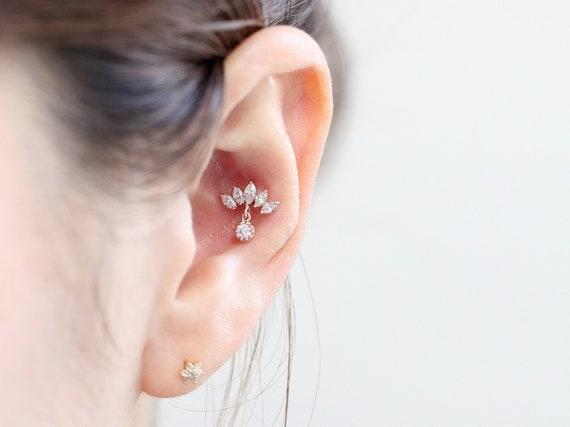 2ebeeaa6c27cc 14K gold crown cartilage earring/Tragus piercing/Drop Piercing /Helix Conch  piercing/CZ stud piercing/Crown earring/Tiara piercing/16g 18g