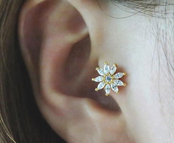 Pretty Cz Flower Piercing Tragus Earring Cartilage Etsy