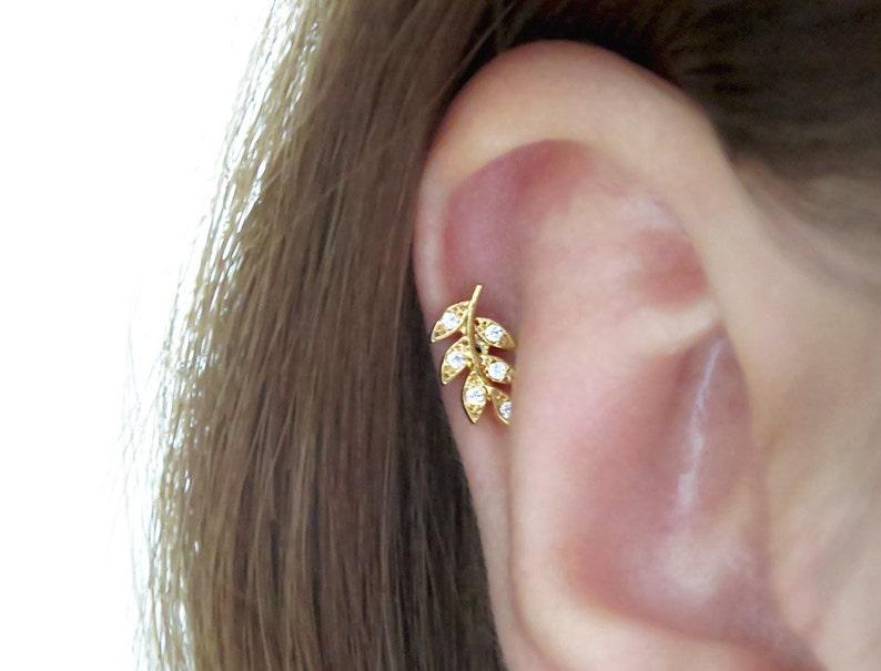 Leaf Piercing Tragus Earring Cartilage Earring Tragus Piercing Cz Piercing Helix Earring Conch Earring Cz Stud Piercing Leaf Earrings