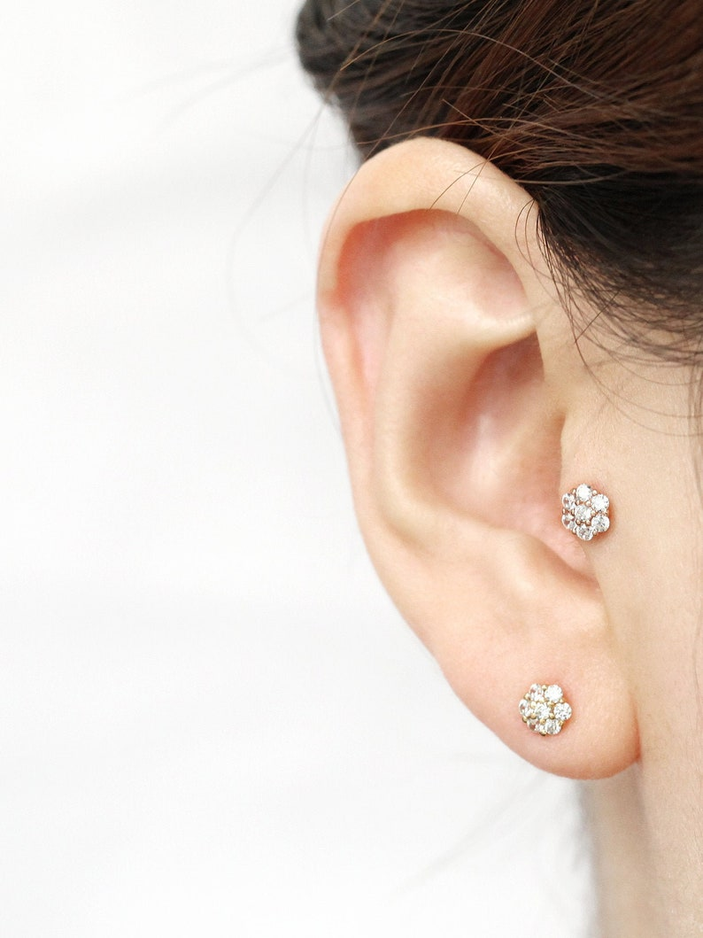 b66b98892 14K Solid Gold CZ Cartilage earring/Tiny CZ flower | Etsy