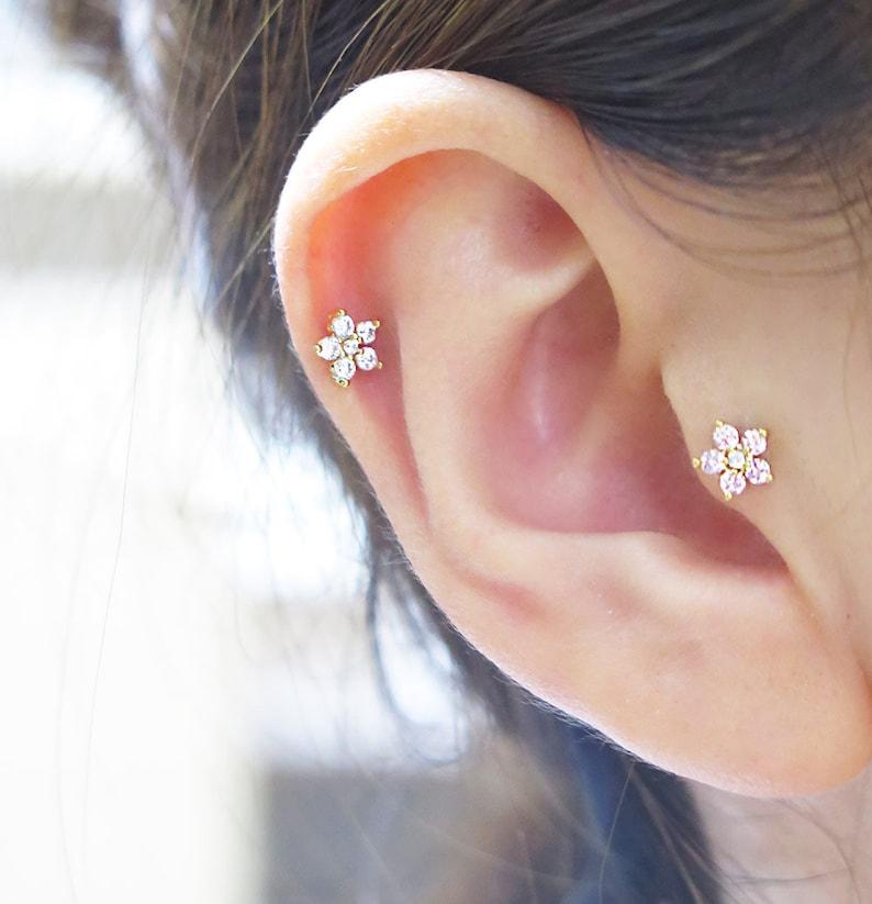 5d6841165 14K solid gold flower cartilage earring/Best CZ Flower | Etsy