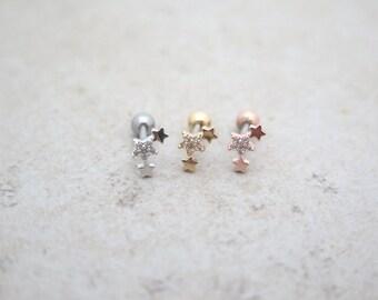 Triple star Piercing/CZ Stud Ear Piercing/Tragus Earring/Cartilage earring/Tragus stud /Tragus Piercing/CZ piercing/Body jewelry/Helix/conch