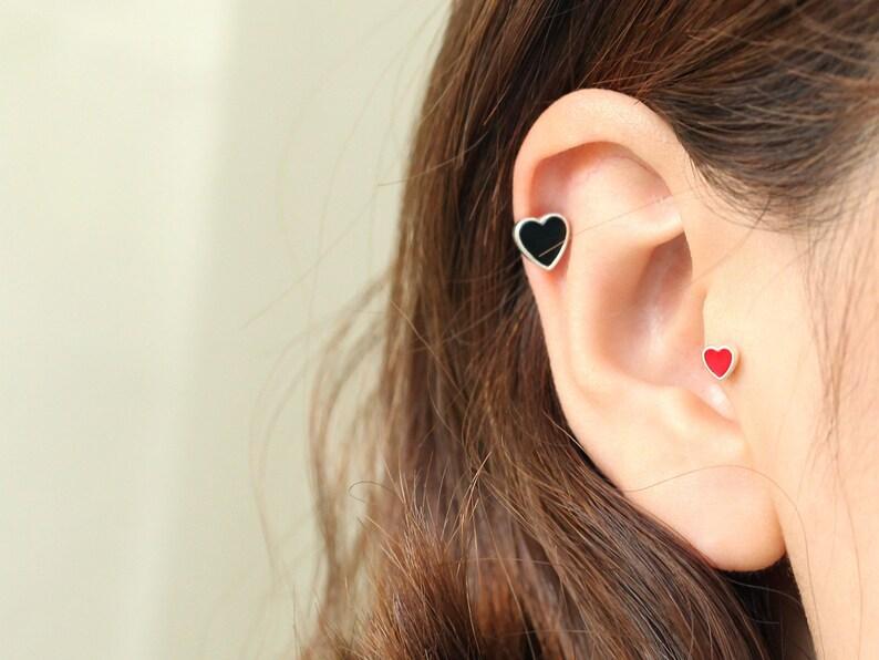 381d3cece 925 Sterling silver heart cartilage earring Tragus Earring   Etsy