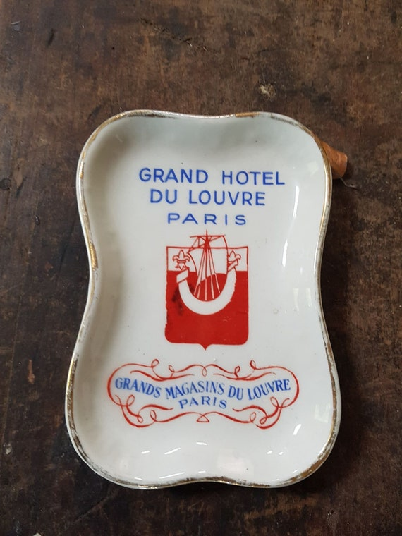 Rare Vintage Hotel Du Louvre Paris Porcelain Pin Tray Ash Tray Grands Magasins Du Louvre