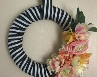 Striped floral wreath