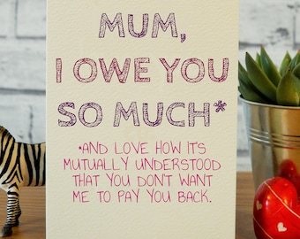 Funny Mothers Day Card Mom Birthday Mum