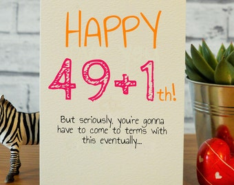 50th Birthday Card Happy Funny Cards Best Friend Mum Dad