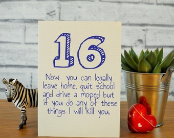 16th Birthday Card Son Funny Brother Gift Nephew 16