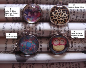 Necklace with glass cabochon, optical art style Vasarely choeutte OWL Leopard print