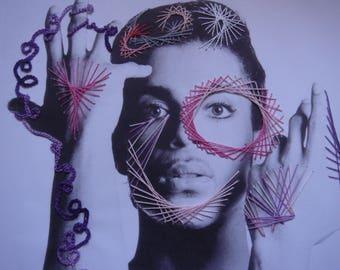 Portrait of singer Prince purple rain, string art