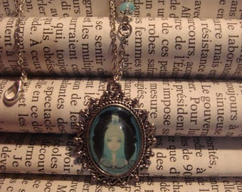 Necklace with blue glass cabochon, Goth girl woman
