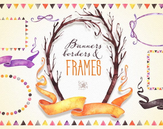 Frames Banners & Borders. Fall and Halloween clipart | Etsy