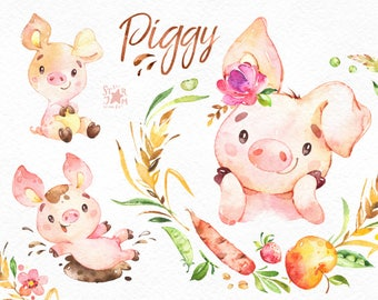 Piggy. Watercolor farm clipart, country, piglet, little pig, pink, vegetable, fruits, wreath, cute, household, animals, stickers, kids, fun