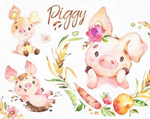 Schweinchen Aquarell Bauernhof Clipart Land Ferkel Schwein Rosa Gemuse Fruchte Kranz Niedlich Haushalt Tiere Aufkleber Kinder Spass