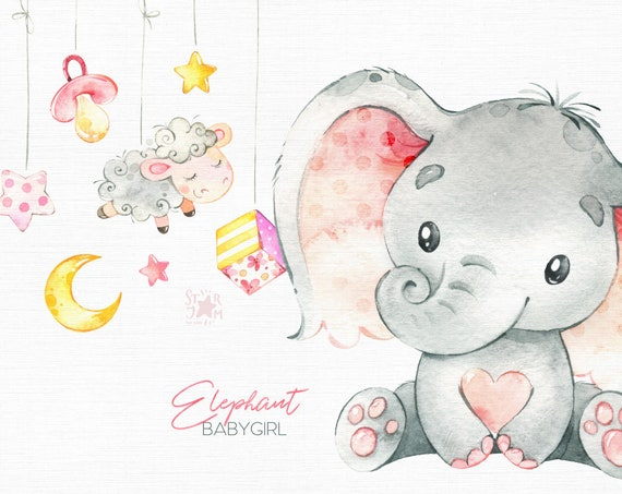 Watercolor animals clipart babyshower greeting cheetah kids wreath monkey floral family Africa Mother /& Baby elephant invite