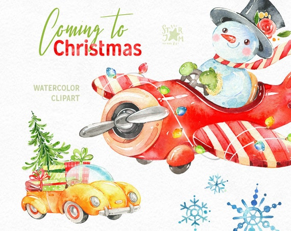 Coming To Christmas Watercolor Holiday Clipart Snowman Winter Car Vintage Airplane Gift Diy Decorations New Year Merry Cute Fly