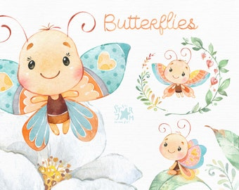 Butterflies. Little animals watercolor clipart, flowers, leaves, nursery art, baby-shower, florals, leaf, greeting, kids, wings, cute, diy