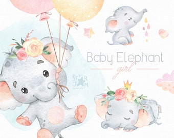 Baby Elephant. Girl. Watercolor little animal clipart, fly, child, pink, sleep, baby-born, baby-shower, dream, clouds, flowers, air-balloons