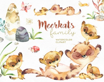 Meerkats. Family. Watercolor animals clipart, little meerkats, embrace, love, african, savannah, invites, stones, floral, leaves, babyshower