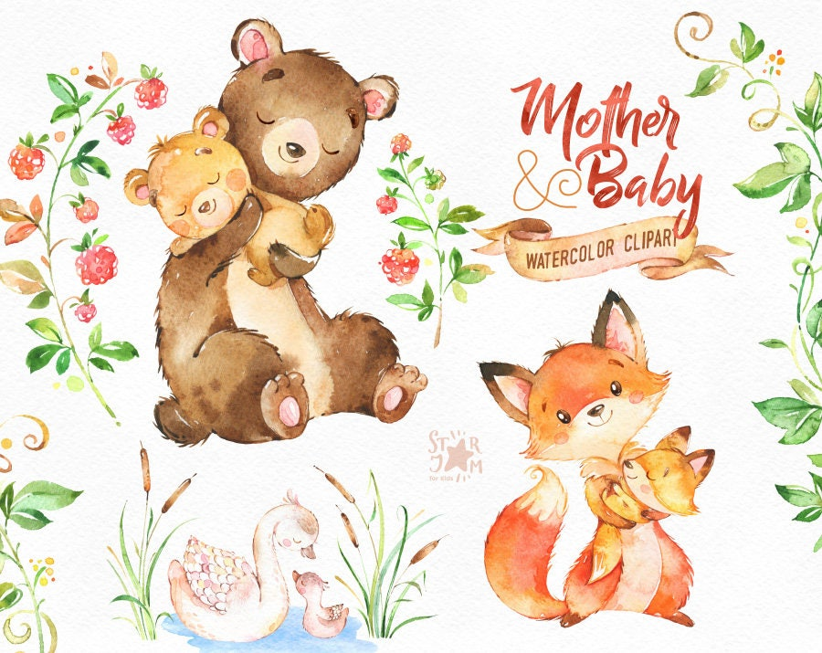Mother & Baby. Watercolor animals clipart fox bear swan | Etsy