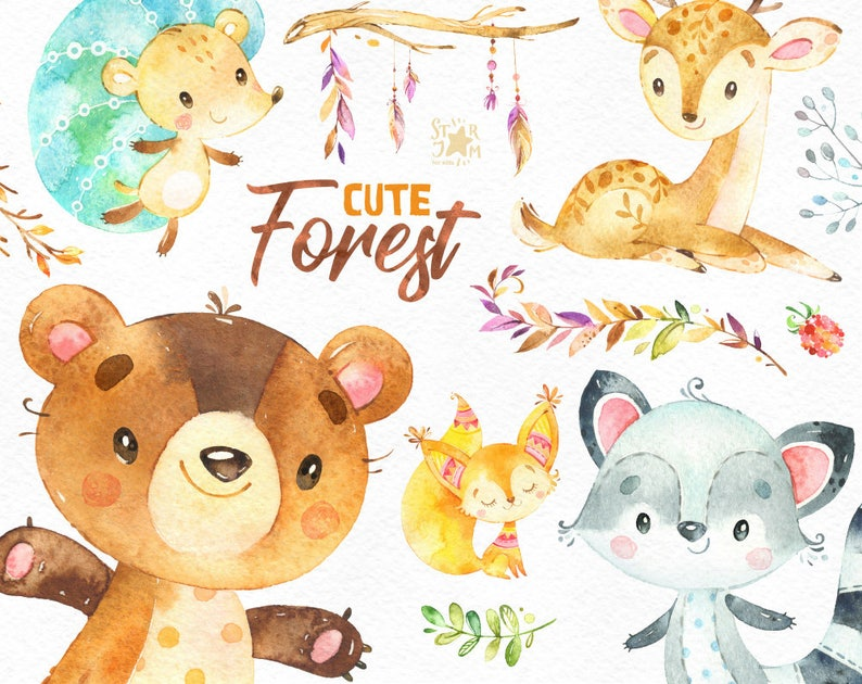 Cute Forest Watercolor Little Animals Clipart Squirrel Etsy