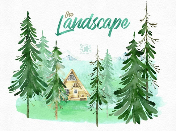the landscape watercolor clipart forest mountains house etsy etsy