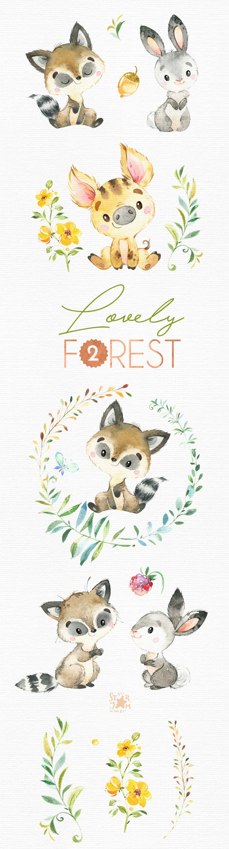 Lovely Forest 2. Little animals clip art watercolor fox | Etsy