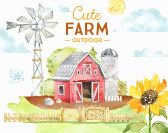 Cute Farm Outdoor. Watercolor country clipart, landscape, windmill, barn, fence, ranch, sunflower, village, household, homestead, babyshower