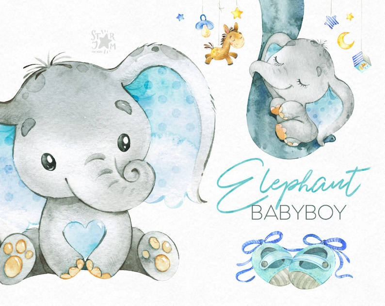 a537d60be7a98 Elephant. Babyboy. Watercolor little animal clipart africa