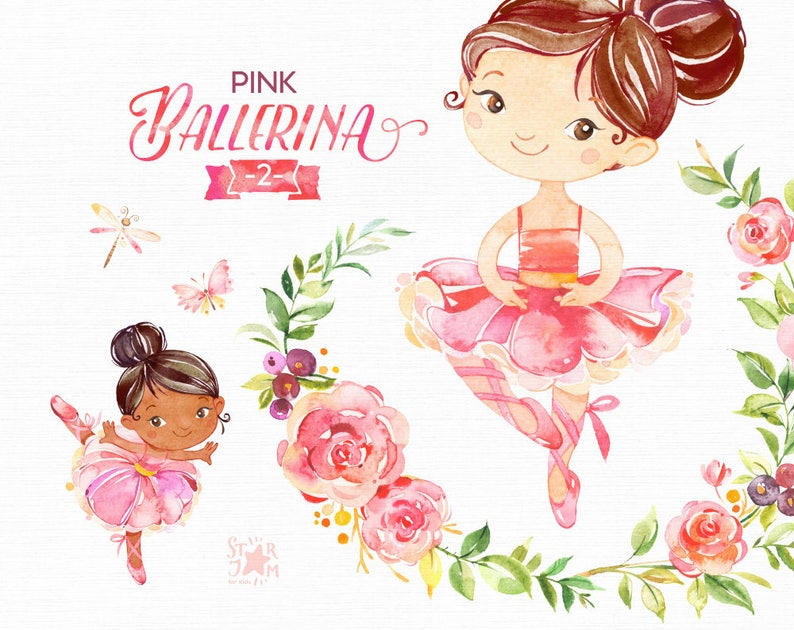 ffe661310c Pink Ballerina 2. Watercolor clipart little girl ballet