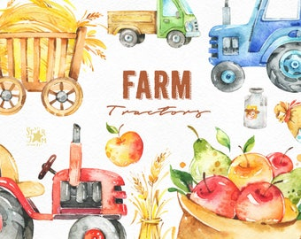 Farm. Tractors. Watercolor clipart, fruits, household, harvest, vehicle, thanksgiving, truck, milk, vegetables, country, fall, summer, vegan