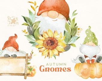 Autumn Gnomes. Watercolor Fall clipart, halloween, thanksgiving, sunflower, harvest, greeting, pumpkins, scandi, floral, kids, diy, truck