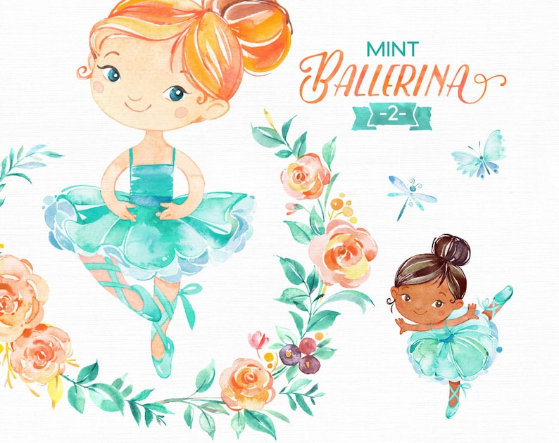 aad6e1d2f2 Mint Ballerina 2. Watercolor clipart little girl ballet