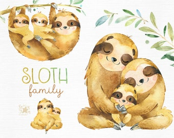 Sloth. Family. Watercolor animals clipart, sleepy sloths, mother, father, florals, babyshower, diy, kids, baby, cute, nursery, nature art