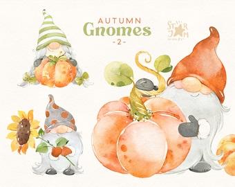 Autumn Gnomes 2. Watercolor Fall clipart, halloween, thanksgiving, sunflower, harvest, greeting, pumpkins, scandi, floral, kids, diy