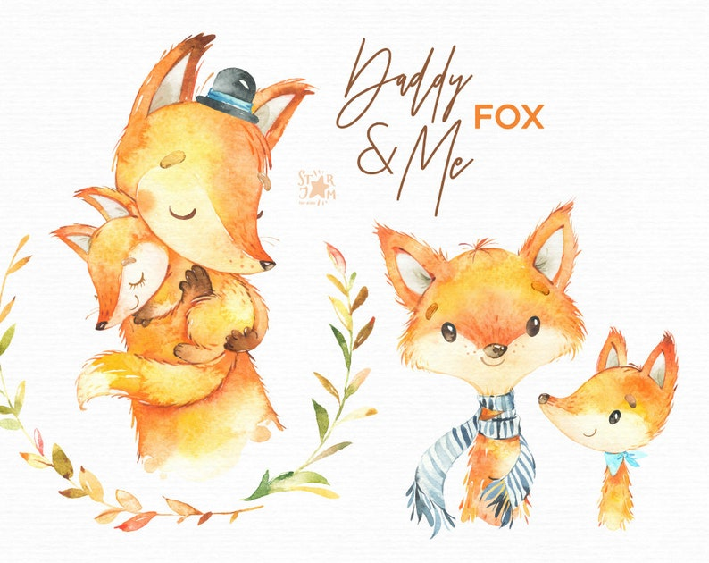 Daddy Me Fox Watercolor Animals Clipart Father Hugs Etsy