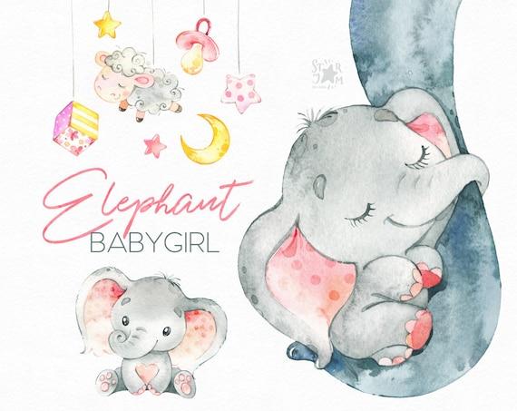 Elephant. Babygirl. Watercolor little animal clipart ...