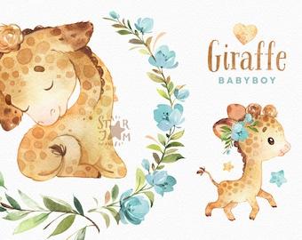 Giraffe Babyboy. Watercolor animals clipart, African, greeting, flowers, wreath, invite, safari, leaves, baby, baby-shower, cute, kids