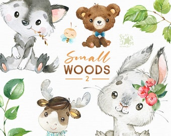 Small Woods 2. Little animals watercolor clip art, rabbit, moose, wolf, bear, florals, wreath, baby-shower, woodland, wild, forest, baby elk