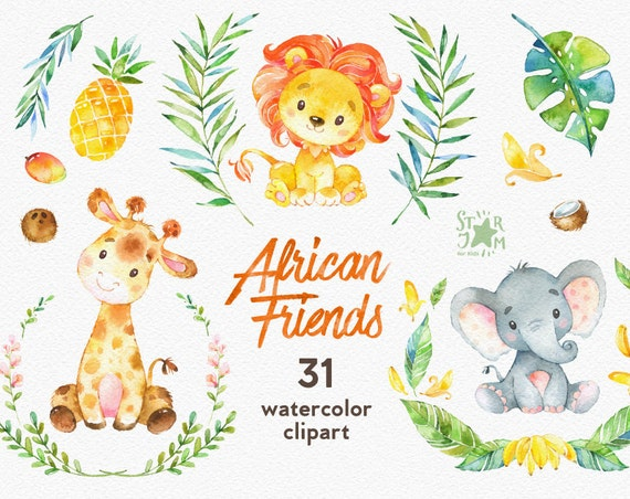african friends watercolor animals clipart lion elephant etsy